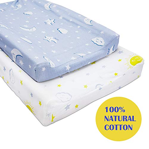 Changing Pad Cover Set with Waterproof Pad Liner Included -100% Premium Cotton Changing Table Pad Cover for Baby Boy and Girl- 2 Pack Super Soft and Stretchy Diaper Changing Pad Covers-Blue and White