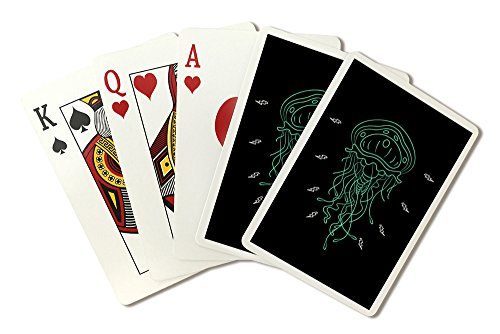 Jellyfish - Neon Art Deco Style (Playing Card Deck - 52 Card Poker Size with Jokers)