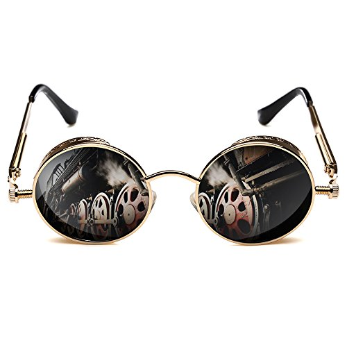 - ROCKNIGHT Gothic Steampunk Sunglasses For Men Women UV Polarized Sunglasses for Men Metal Frame