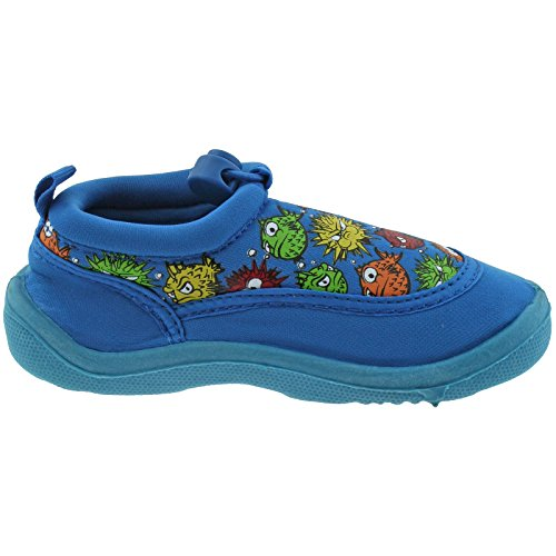 BOYS INFANTS YELLO BLACK BLUE PUFFA FISH AQUA SOCKS BEACH SHOES FW930-Blue-UK 5 (EU 22)