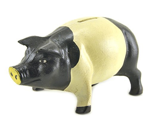 Home Axentz Coin Bank, Cast Iron Metal Pig Sculpture Statue Figure, 7.5-inch, Door Stop Garden ()