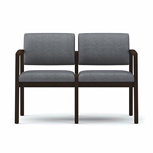 Lesro Lenox 2 Seat Office Sofa, Medium Finish, Core Burst Fabric