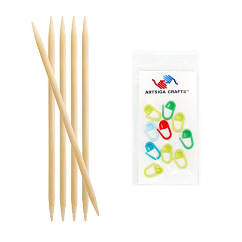 Knitter's Pride Knitting Needles Bamboo Double Pointed 8 inch (20cm) Size US 8 (5.00mm) Bundle with 10 Artsiga Crafts Stitch Markers 900126 ()