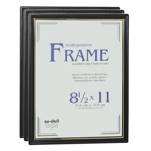 Wholesale CASE of 20 - NuDell Easy Slide-In Document Frame-Document Frame, Easy Slide -In Feature, 8-1/2''x11'', Black
