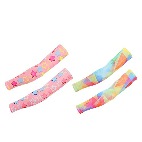 VCZONE Arm Sleeves for Kids, 2 Pair Cooling UV Protection Arm Elbow Sleeve Tattoo Cover up Sleeves for Kids Sunblock (Style 1)]()