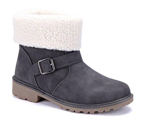 Schuhtempel24 Damen Schuhe Klassische Stiefeletten Stiefel Boots Blockabsatz  Schnalle Schlupf 4 cm Grau b502a26a9a