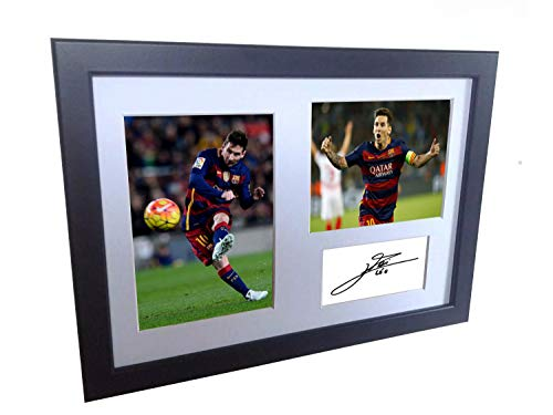 Signed Lionel Messi Barcelona Photo Photograph Picture Frame Autograph Mount Football Soccer Gift A4 (Messi Signed Ball)