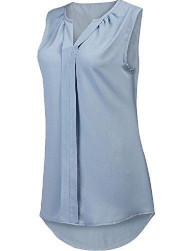 POETSKY Women Summer Chiffon Pleated Blouses Shirt Sleeveless V Neck Tank Top