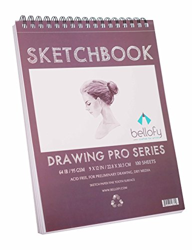 Bellofy 100 Sheet Sketch Book 9x12-Inch | 64 IB 95 GSM | Top Spiral-Bound Sketchpad for Artist | Sketching and Drawing Paper | Micro-Perforated & Acid Free by Bellofy