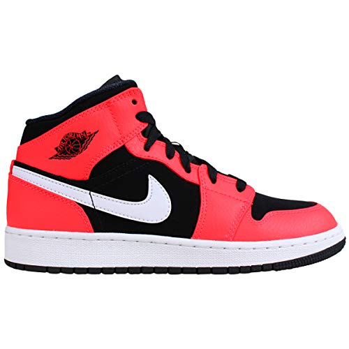 Jordan 1 Mid Black/Infrared 23-White (GS) (4.5 M US Big Kid) (23 Jordan Shoes Kids)