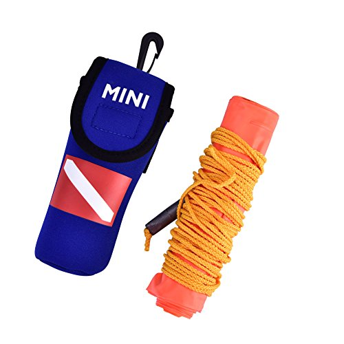 Diving Surface Marker, PVC High Visibility Inflatable Surface Marker Buoy Signal Tube with Pouch Diving Safety Gear