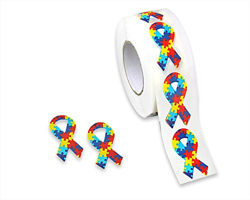 (500 Autism Awareness Multicolored Ribbon Stickers on a Roll - Small Ribbon)