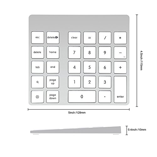 Cateck 28-Key Rechargeable Aluminum Bluetooth Wireless Keypad Number Pad Keyboard for iMac, MacBook Air, MacBook Pro, MacBook, and Mac Mini by Cateck (Image #4)