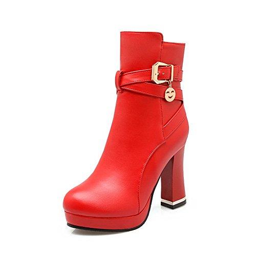 VogueZone009 Damen Naht Hoher Absatz Rund Zehe Rein Reißverschluss Stiefel Rot