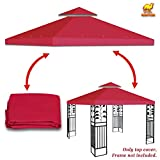 Strong Camel Dual Tier Gazebo Replacement 10' x 10' Canopy Top Cover Awning Roof Top Cover (Burgundy)