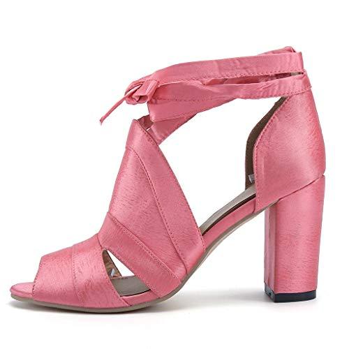 Talons Talon De Rose Chaussures Peep Deelin Cheville Hauts Douce Sangle Princesse Lacets À Sandales Chunky Mode Femmes Parti Toe qZUwxUXOS
