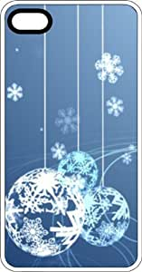Blue & White Snowflake Christmas Ornaments Clear Plastic Case for Apple iPhone 4 or iPhone 4s