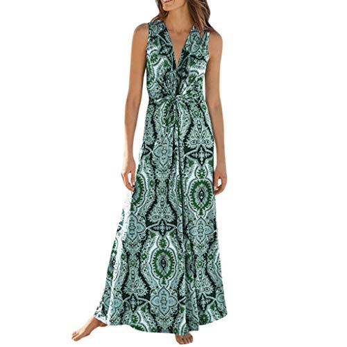 LOMONER Sexy Dress for Women V Neck Sleeveless Printed Beach Long Dresses Bohemian Party Dresses
