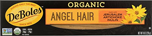 DeBoles Organic Pasta, Angel Hair, 8 Ounce (Pack of 12)