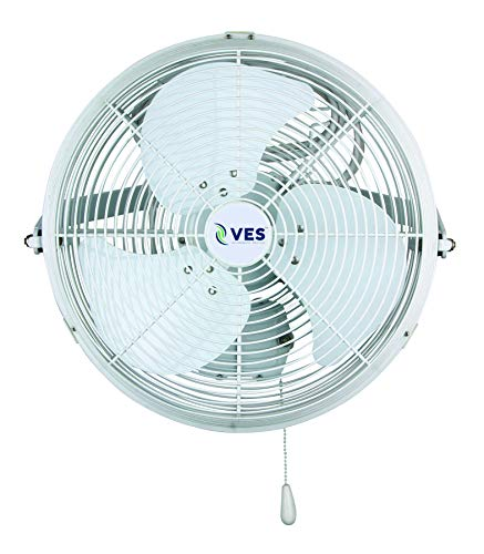 VES Moisture Resistant Wall/Ceiling Mount Shop Fan/Industrial Basket Fan for Cooling and Ventilation (18 inch, White)
