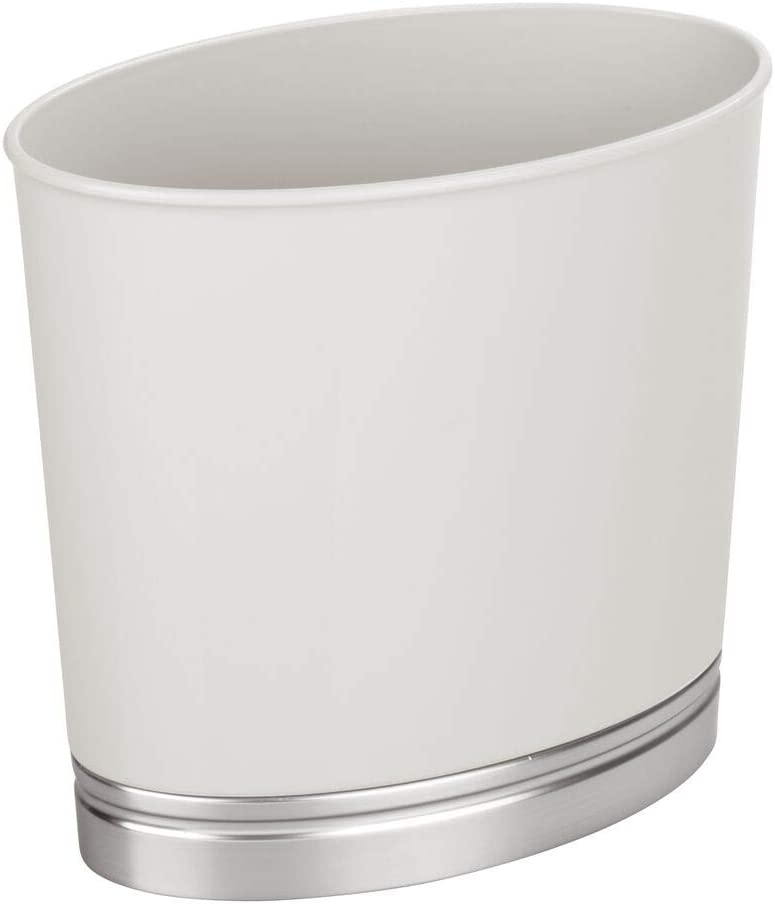 mDesign Oval Slim Decorative Plastic Small Trash Can Wastebasket, Garbage Container Bin for Bathrooms, Kitchens, Home Offices, Dorm Rooms - Light Gray/Brushed