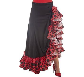 Disfraces Llopis Falda Sevillana Negra y Roja con Topos: Amazon.es ...