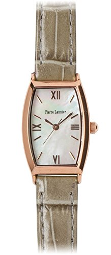 PIERRE LANNIER watch tonneau watch pink gold / Croco embossed gray P131D990 C30 Ladies