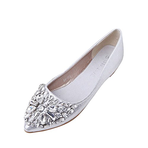 Pointu Silver souliers Femme À brogues Strass Bout Plates Ballerines Chaussures aller Mocassins Tout qwqtOIa7r
