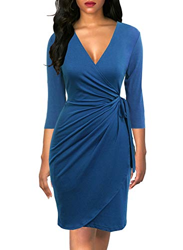 Berydress Women's Classic 3/4 Sleeve V Neck Sheath Casual Party Work Faux Black Wrap Dress (S, 6083-Teal)