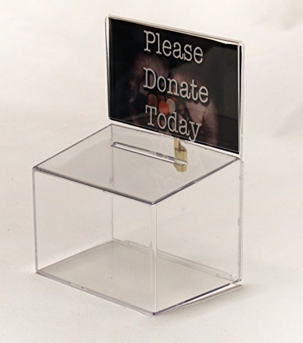 Donation box with lock and 5w x 3h sign holder by leadbox.com