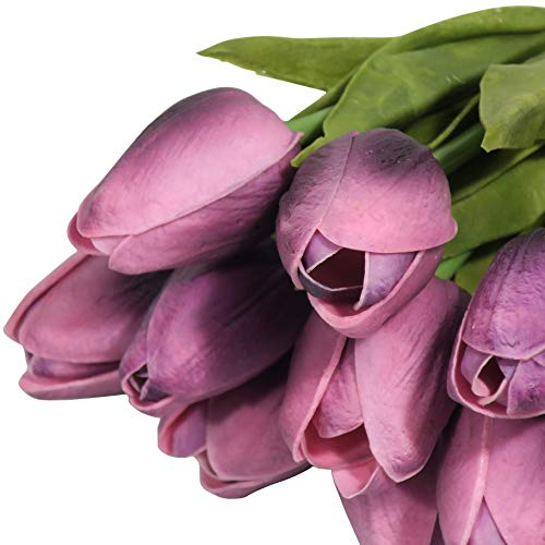 EZFLOWERY-10-Heads-Artificial-Tulips-Flowers-Real-Touch-Arrangement-Bouquet-for-Home-Room-Office-Party-Wedding-Decoration-Excellent-Gift-Idea-for-Mothers-Day-10-Purple