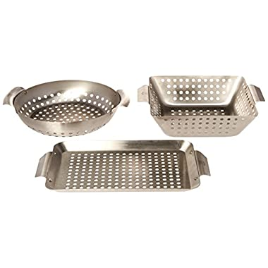 Yukon Glory 3-Piece Mini BBQ Grill Baskets Accessory Set for Grilling Vegetable, Chicken Pieces etc