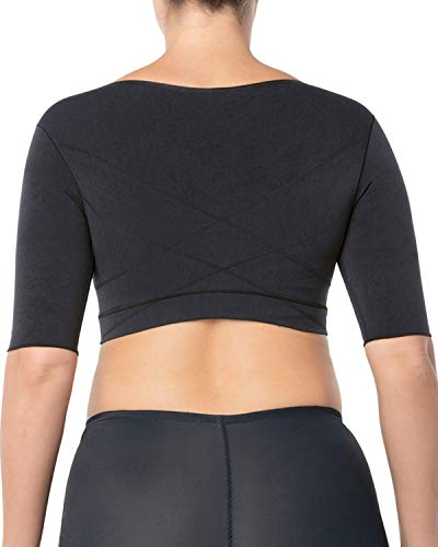 Leonisa Seamless Upper Arm Shaper Slimming Compression Vest with Posture Corrector, Black, Large