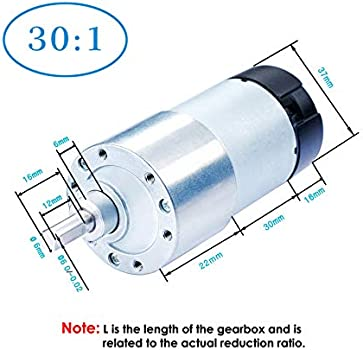 540 oz.in with 64 CPR Encoder and Bracket 6V-3W-20RPM-40 kg.cm D-Shaped Output Shaft 16mm. 973 oz.in 12V-6W-40RPM-70 kg.cm CQRobot Ocean: 270:1 Metal DC Geared-Down Motor 37Dx72.5L mm 6V//12V