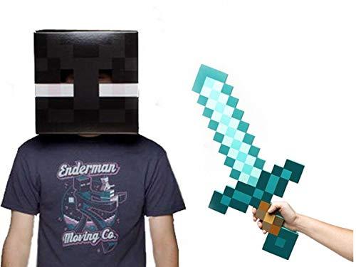 Enderman Halloween Costume (Minecraft Enderman Head & Diamond Sword Costume)
