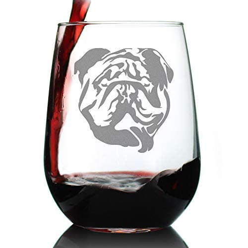 Bulldog Stemless Wine Glass - Large 17 oz Glasses - Cute Gifts for Dog Lovers with English Bulldogs