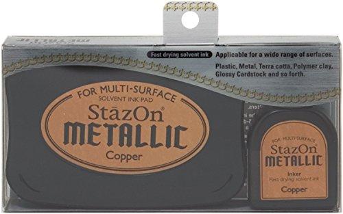- Tsukineko 432725 Stazon Metallic Ink Kit-Copper