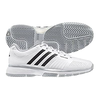 adidas adiPower Barricade 7.0 Women s Tennis Shoe - White Black Metallic  Silver (10 9f2877af45