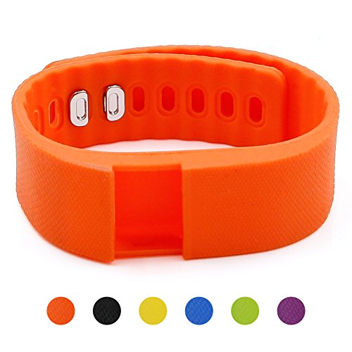 Soft Silicone Band for Teslasz Fitness Tracker in 6 Colors for Option (Orange)