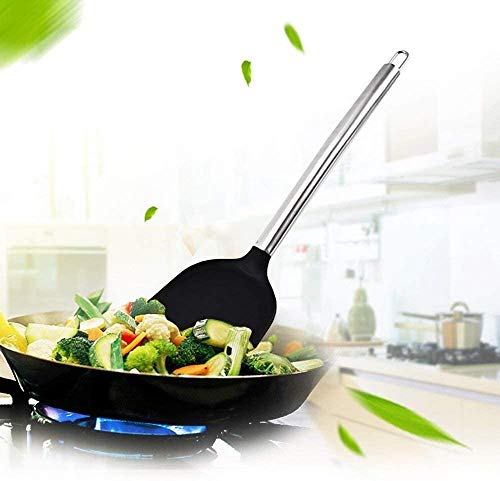 Kitchen Utensils,Haolide Ergonomic Premium Silicone Kitchen Utensils 12-Piece Non-Stick Kitchen Accessories with Stainless Steel Handles for Commercial Restaurant and Home (12-Pieces)