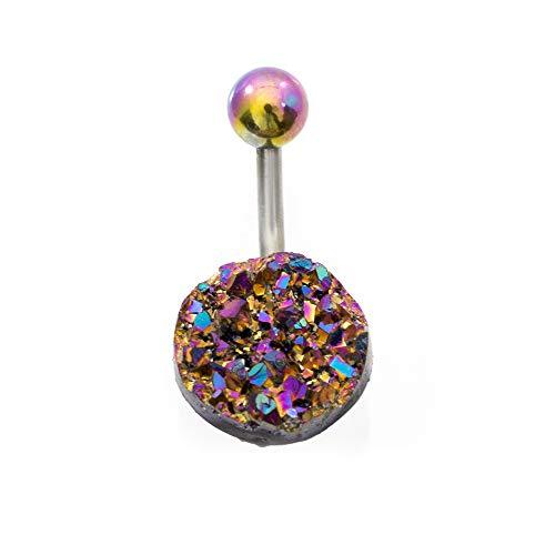 Luxe Modz Navel Ring with Multicolor Confetti Stone Design 14g