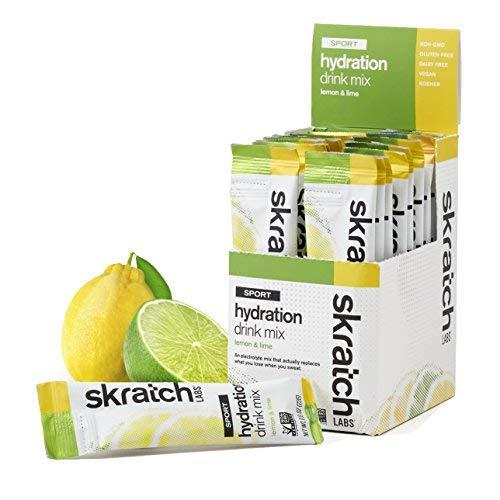(SKRATCH LABS Sport Hydration Drink Mix, Lemon Lime (20 pack single serving) - Natural, Electrolyte Powder Developed for Athletes and Sports Performance, Gluten Free, Vegan, Kosher)