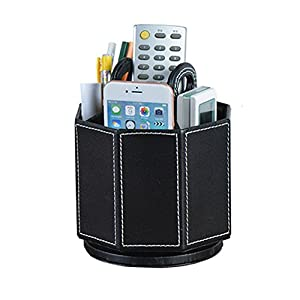 Daixers PU Leather Rotatable Remote Control Holder Storage Container for TV Remote Phone Caddy Eyeglasses