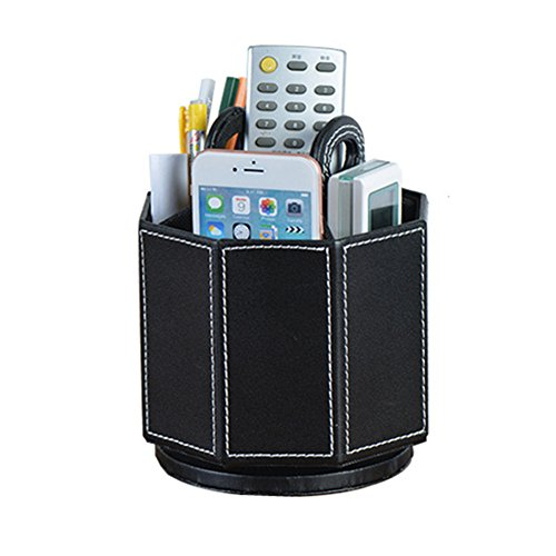 Daixers PU Leather Rotatable Remote Control Holder Storage Container for TV Remote Phone Caddy - Eyeglass Holder Multiple Case
