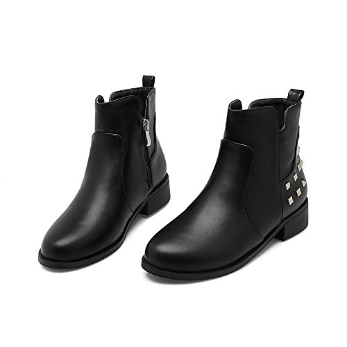 AllhqFashion Womens Low-Heels Soft Material Low-Top Solid Zipper Boots Black DHKQJK