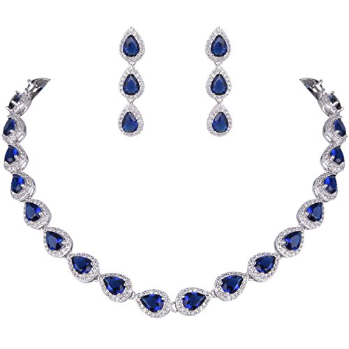 - EVER FAITH Women's Full CZ Elegant Teardrop Necklace Earrings Set Blue Sapphire Color Silver-Tone