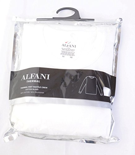 Alfani Men's Underwear, Waffle Knit Thermal Long Sleeve T-Shirt (Small, White)