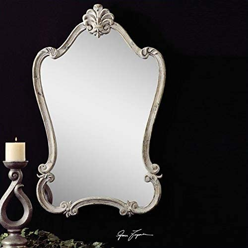 Uttermost Walton Hall Mirror in Distressed Antique White