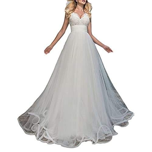 YSMei Womens Empire Waist Beach Wedding Dress Long Tulle Ball Bridal Gowns White 16