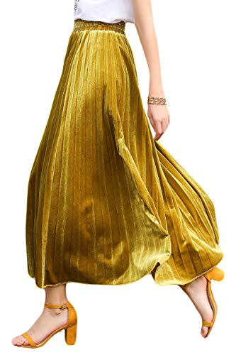 YSJERA Women's Pleated Maxi Skirt A-Line Floor Length Party Adult Tutu Swing Skirts (Velvet Gold, M) ()